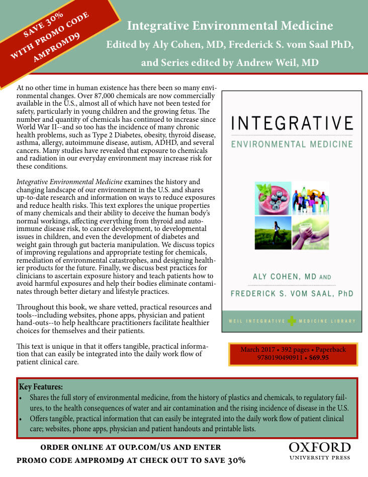 """Dr. Cohen is currently co-editing/authoring the """"Integrative Environmental Medicine"""" text for the Weil/Oxford University Press academic series, slated for publication - March 2017."""